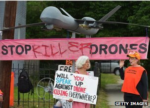 Protest in Washington against the use of drones