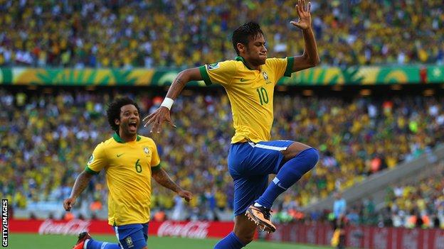 Neymar celebrates his opener