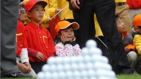 Young golf fans at Jinsha Lake Golf Club on October 29, 2012 in Zhengzhou