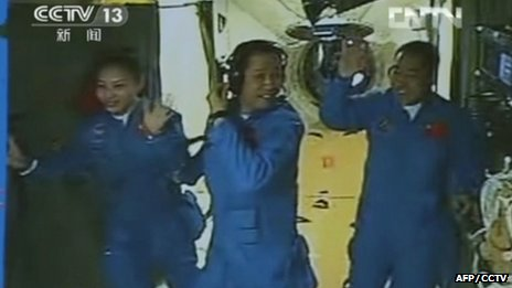 Three Chinese astronauts are conducting scientific experiments in the Tiangong-1 space module