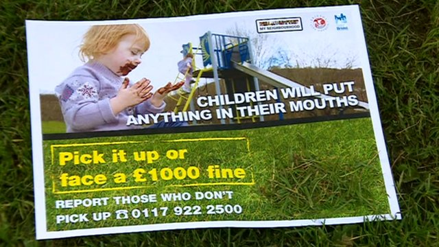 Anti-dog fouling poster with part of it obscured