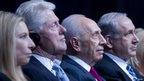 From L-R: Barbra Streisand, Bill Clinton, Shimon Peres and Benjamin Netanyahu attend a gala event for Mr Peres' 90th birthday on June 18.
