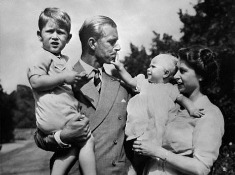 Prince Philip and the Queen with their two eldest children, 1950s