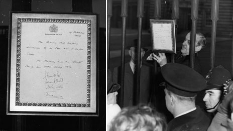 Easel announcing birth of Prince Andrew, 1960
