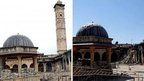 AFP photograph of Aleppo's Umayyad Mosque and its minaret (16 April 2013) and purported photograph showing mosque without minaret after its destruction (24 April 2013)