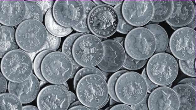 Old five pence coins