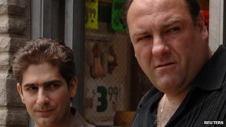 James Gandolfini with Michael Imperioli in The Sopranos