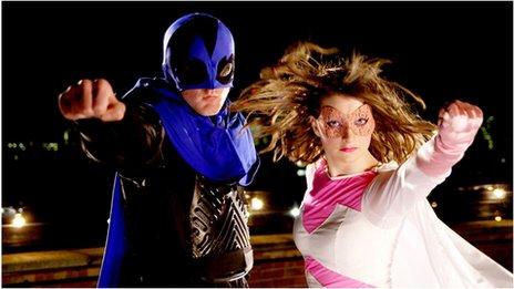 Superheroes Roger Hayhurst and Rebecca Wall