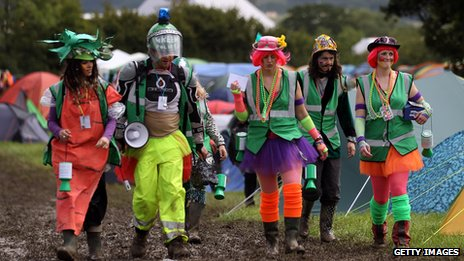 Festival goers in fancy dress