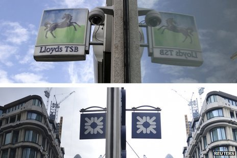 Composite showing Lloyds and RBS branch signs