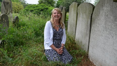 Janet Ellis at her family's grave