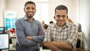 Mostafa Farahat (left) with fellow co-founder of educational start-up Nafham, Muhammad Habib