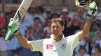 Ricky Ponting celebrates reaching 200 against India at Adelaide