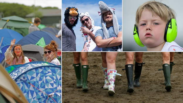 Clockwise from left: Colourful tents, fancy dress for grown-ups, ear defenders for children and posh wellies