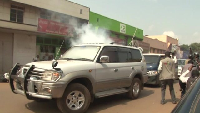 Smoke inside Erias Lukwago's vehicle