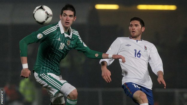 Kyle Lafferty in action for N Ireland