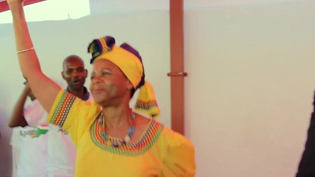 Dr Mamphela Ramphele, Agang leader, dancing with supporters