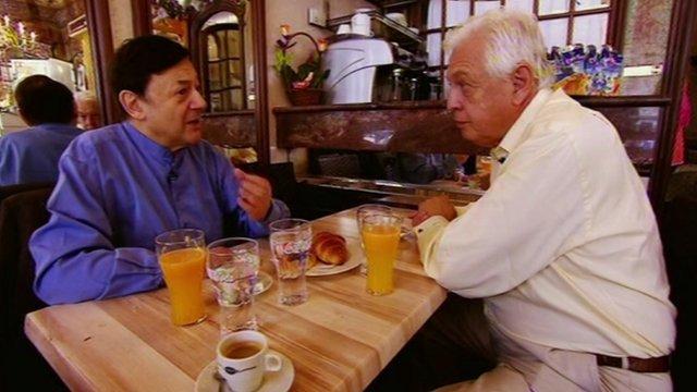 John Simpson chats to Nicholas Snowman in a Paris cafe