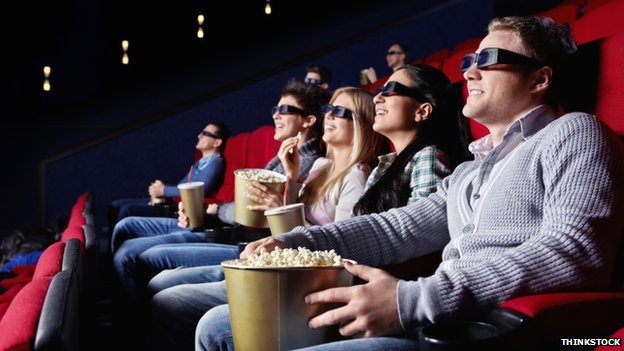 People watching a 3D film