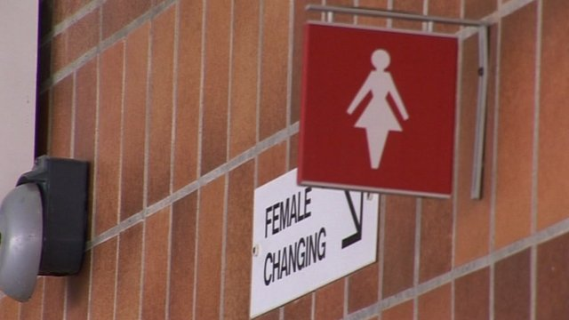 Female changing room sign at Cleethorpes Leisure Centre