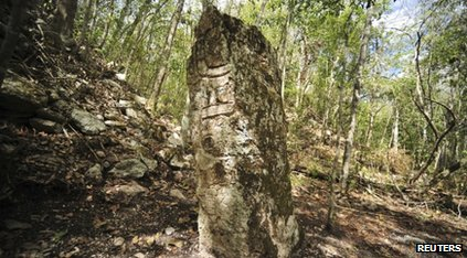 They found sculptured stone shafts known as stelae