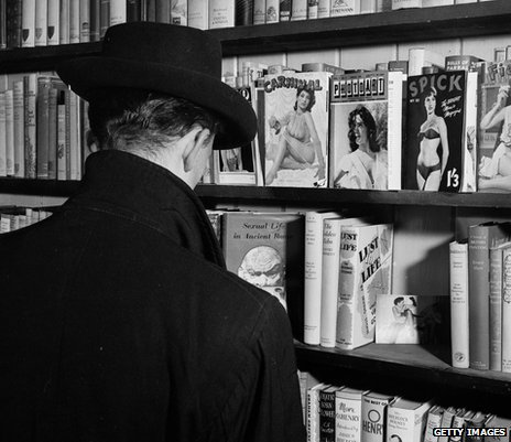 Browsing the pornography section at a Soho sex shop in 1956