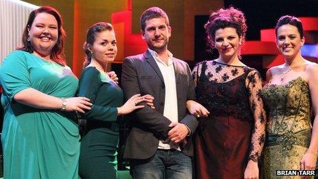 Left to right: Jamie Barton, USA; Olena Tokar, Ukraine; Marko Mimica, Croatia; Teresa Romano, Italy; Daniela Mack, Argentina