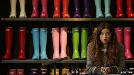 Colourful wellies on sale at Chelsea Flower Show