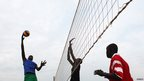 Men playing volleyball in Juba, South Sudan - Wednesday 19 June 2013