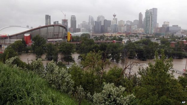 The Calgary Stampede grounds and Saddledome are flooded in Calgary, 21 June