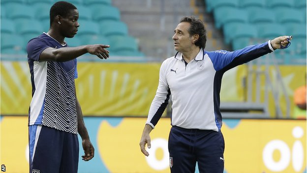 Mario Balotelli and Cesare Prandelli