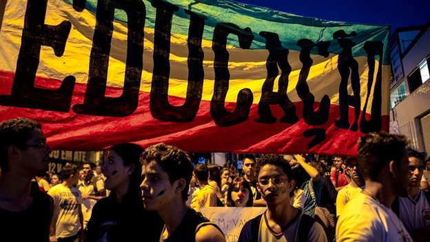 Protesters in Belo Horizonte, Brazil