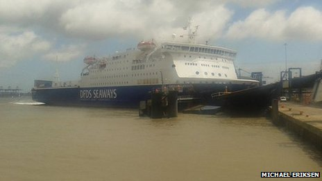 Ferry hitting quayside