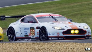 Allan Simonsen steers his Aston Martin Vantage number 95 before his accident. Photo: 22 June 2013