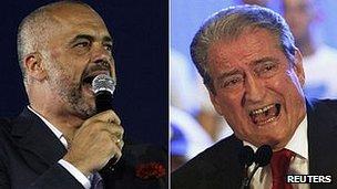 Opposition leader Edi Rama, left, and incumbent Prime Minister Sali Berisha