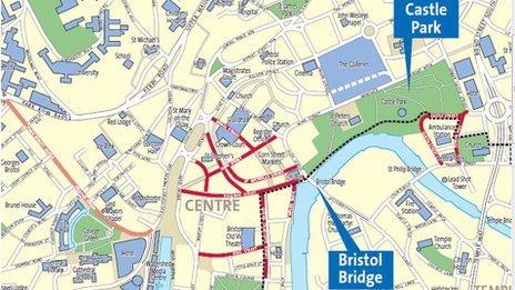 Map of Bristol showing road closures