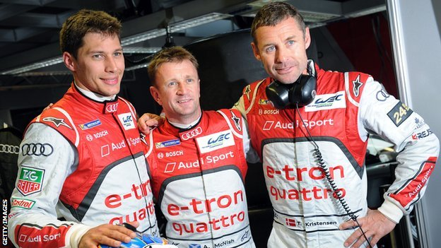 Loic Duval, Allan McNish and Tom Kristensen