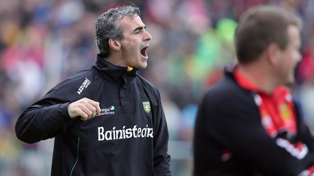 Jim McGuinness with James McCartan at Breffni Park