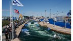 The sun shines on the course at the Canoe Slalom World Cup at Cardiff Bay