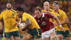 Alun Wyn Jones hunts down Digby Ioane at Suncorp Stadium