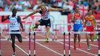 World 400m hurdles champion Dai Greene suffered a shock defeat at the European Team Championships in Gateshead, finishing second behind Germany's Silvio Schirrmeister.