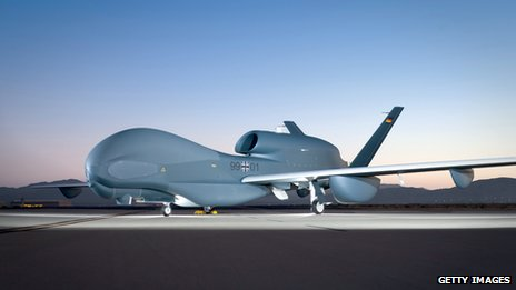 One of the drones, a Euro Hawk, parked in the Mojave Desert