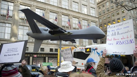 New Yorkers march against the use of drones