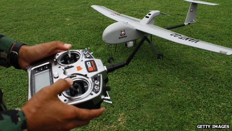 A member of the Mexican navy tries out a new drone