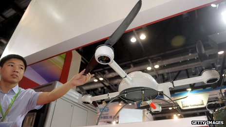 A surveillance drones is on display in China