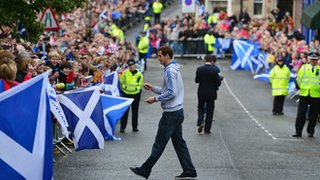 Andy Murray goes to sign autographs on a visit to Dunblane following his Olympic success at London 2012