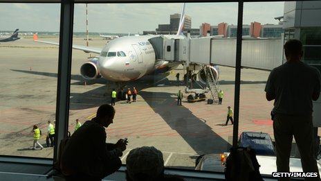 A view of an airplane at Sheremetyevo International Airport