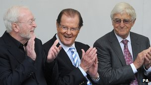 Sir Michael Winner, Sir Roger Moore and Sir Michael Parkinson