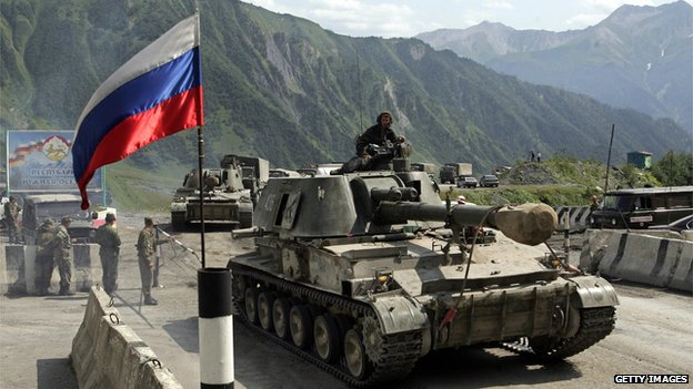 Russian tank during conflict with Georgia in 2008