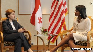 US Secretary of State Condoleezza Rice with Georgia's foreign minister Eka Tkeshelashvili